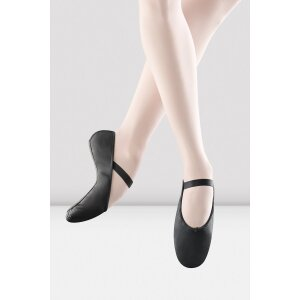 Ballettschuhe Leder, ganze Sohle schwarz 5,5