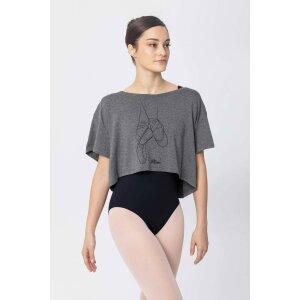 Top Ballett-Motiv graumeliert XS